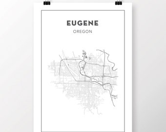FREE SHIPPING to the U.S!! EUGENE, Oregon Map Print