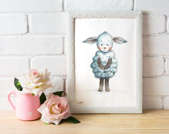 Sheep - Printable Art - Nursery art - Nursery decor - Kids room decor - Children's art - Children's wall art - Kids wall art - Baby room