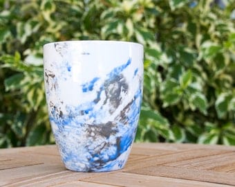SKY BLUE & SILVER : Galaxy Mug / Nebula Mug / Watercolor Mug / Handpainted, Abstract Custom Mug