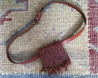Ralph Lauren Leather Bag Vintage Ralph Lauren Rare Belt Bag Woven Wallet Brass 32 Waist Bag Fanny Pack Brown Purse Fringed Leather Bag