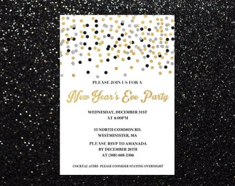New Year's Eve Invitation- New Year's Eve Invite- New Year's Eve Party Decor- NYE Invite- NYE Invitation