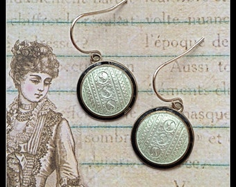 STUNNING 1920s Art Deco STERLING Guilloche/Enamel Cufflink Dangle Earrings, Black and White with sterling earwires