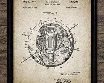 First American Satellite Patent Print - 1958 Satellite Design - Spacecraft Design - Space exploration - Single Print #666 - INSTANT DOWNLOAD