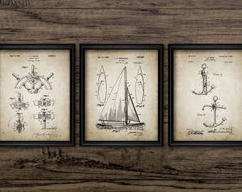 Sailing Patent Print Set Of 3 - Sailing Boat Patent Print - Yacht Design - Sailing Decor - Set Of Three Prints #1027 INSTANT DOWNLOAD