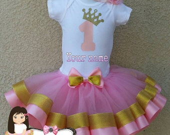 Personalized 1 St birthday ribbon trimmed tutu set , first birthday tutu, ribbon trim tutu, custom tutu, birthday outfit, 1 St bday party
