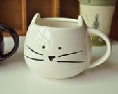 Ceramic White Cat Mug Kitty Mugs Cats Decor Unique Coffee Tea Mug Ceramic Mug Cute Mug Funny Mug