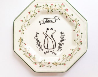 Love Fox! Hand Drawn Illustration on Ceramic Vintage Plate with Green Floral Border, Trinket dish, Home Decor, art