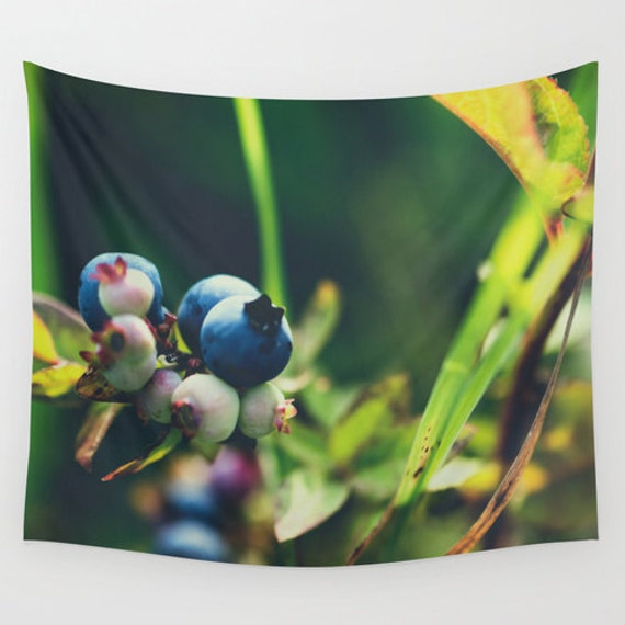 Wall Tapestry, Blue and Green, Blueberry Photo, Wild Food Images, Macro Photography, Minnesota Images, Large Wall Art, Outdoor Decorations