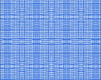 Cotton Fat Quarter Makower Stitch Check Blue on Blue