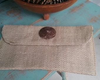 Leopard Print Clutch. Large Button Clutch. Handbag.