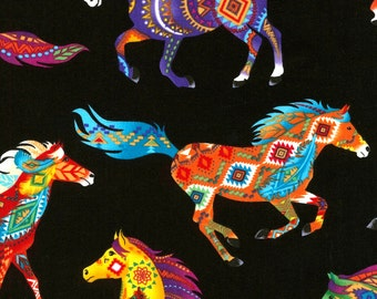 Southwest Horses Fabric Fat Quarter, Third Yard, Half Yard, or By The Yard; C5160; Timeless Treasures; Southwest; Quilt, Apparel, Decor