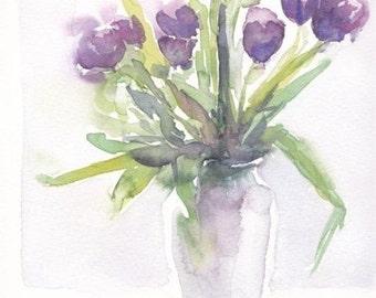 Purple tulips. Original watercolour.