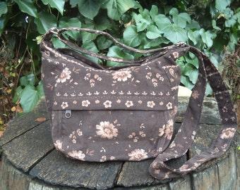 Brown floral corduroy shoulder bag,zippered shoulder bag