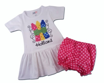 Girl Back to School Dress with Glitter Crayons and Pink Polka Dot Bloomers