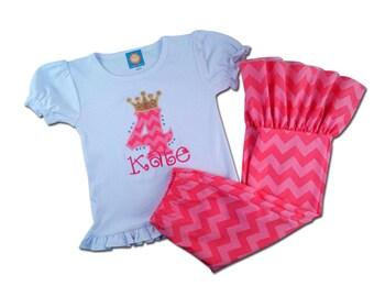 Girl Pink Birthday Outfit with Princess Crown Shirt and Chevron Ruffle Bottom Pants