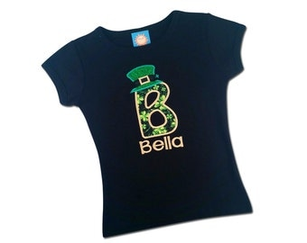 Girl's St Patrick's Day Shirt with Shamrock Initial, Leprechaun Hat and Name