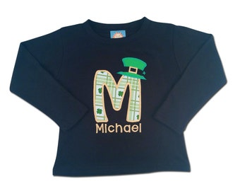 Boy's St Patrick's Day Shirt with Shamrock Initial, Leprechaun Hat and Name