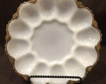 Vintage milk glass deviled egg platter with gold trim