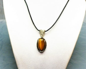 Tiger Eye Handmade Wire-Wrapped Pendant - Unsex - Beautiful Piece!!!