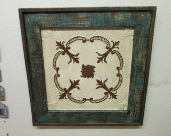 Rustic Primitive Framed Antique Scroll Tin-Wood-Antique-31x31-Turquoise & Brown-Free Shipping