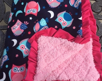 Night Owl Minky Baby Blanket, Baby Blanket with Pink Ruffle Trim - Blue, Pink, White - Gift - Baby Shower Gift