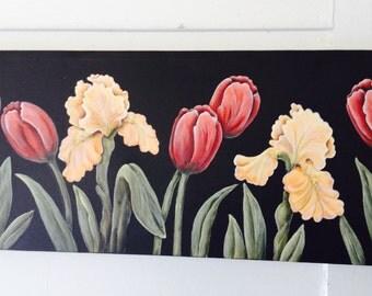 Tulip and iris painting