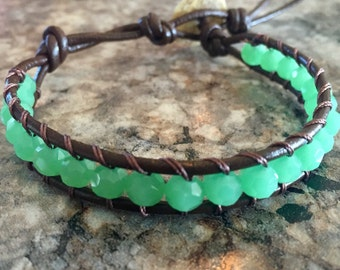 Green Leather Wrap Bracelet