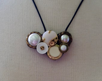 White and Gold Button Necklace