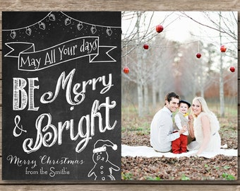 Family Christmas Card Instant Download Printable 5x7 Merry and Bright Christmas Photo Card Holiday Card Printable Photo Card Digital Holiday