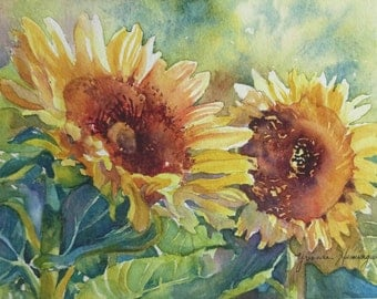 Sunflowers Watercolor Painting, Original Fine Art Painting of yellow sunflowers, Floral Painting for Art Lovers