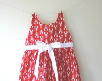 Red lobster dress, lobster print, lobster gift, nautical dress, nautical outfit, boy girl twins, baby dress, toddler dress, party dress