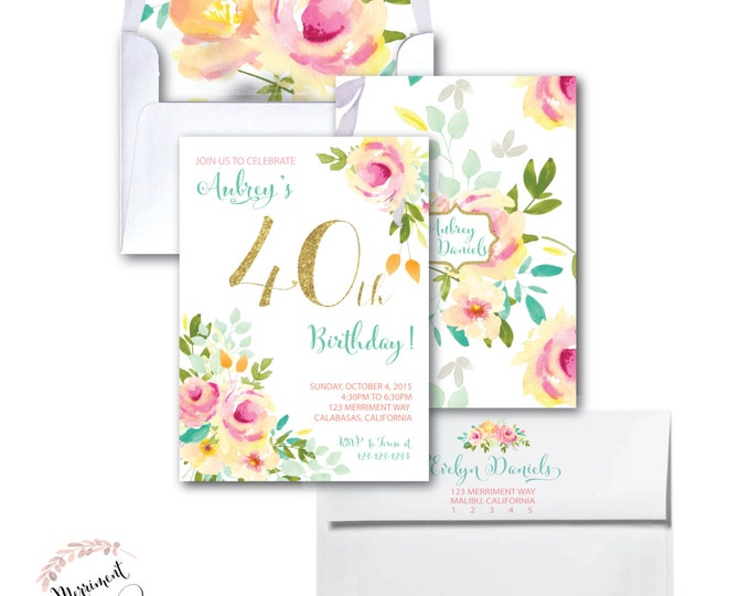 40th Birthday Invitation //Roses // Peonies // Peony // 40 // Any Age // Peach // Pink // Mint // Gold Glitter // Yellow// MALIBU COLLECTION