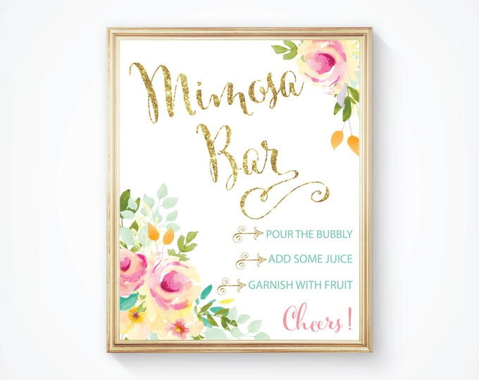 "Mimosa Bar Sign 8x10""  // Mimosas // Mimosas & Monograms // Bubbly // Gold Glitter // Mint // Yellow //  Made to Match our MALIBU COLLECTION"