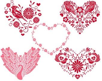 Valentines Day Clip Art, Heart Clipart, Folk Art Hearts