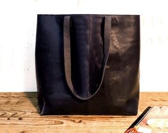 Sale!!! Black leather tote bag, Leather bucket bag, Sturdy Black Tote, Brushed large leather bag