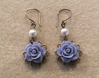 Vintage Style Rose Cabochon Earrings