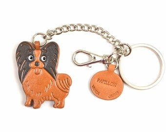 Papillon  3D Leather Dog/Animal Ring/Bag Charm Keychain Keyring key fob/Accessory *VANCA* Made in Japan #26067 Free Shipping