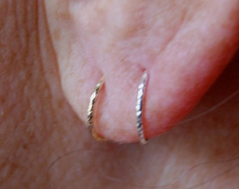 Cartilage Hoop Earring in sterling silver or 14k gold filled Cartilage/endless/catchless/tragus/helix/hex, Helix Piercing Hoops, Ear Hugging