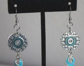 Light Blue Ribbon Dangle Earrings