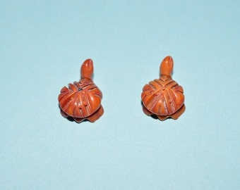 Vintage Hand Carved Genuine Red Coral Turtle Beads. 2 pieces (2041605)*
