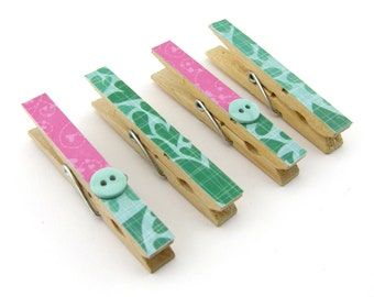 Decorative Clothespin Magnets, Set of 4, Magnetic Clips, Refrigerator, Magnet Clips, Strong Magnets, Buttons, Pink, Blue, Aqua, Hearts