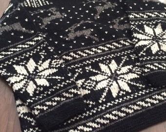 Vintage black snowflake wool knit