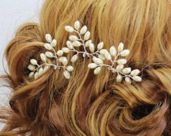 Wedding hair piece Bridal pins Bridal bobby pins Beaded  pearls Bridal hair pins Wedding headpiece Bridesmaids head piece flower girl prom