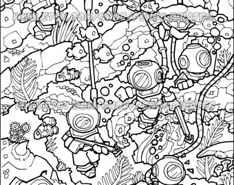 Underwater Adventure Colouring Page Adult Book