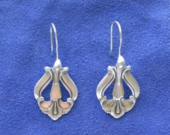Danish Spoon earrings, spoon jewelry, silverware earrings, silverware jewelry (Item E0190)