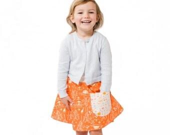 Orange Giraffe Skirt ~ Giraffe Print Skirt ~ Girls Tangerine Skirt ~ Orange Circle Skirt ~ Skirt With Pocket ~ Girls Orange Circle Skirt