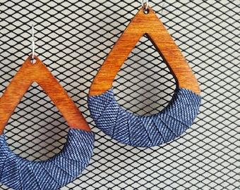Denimwear. Teardrop wood & denim hoop w/ Sterling silver filled earwires/ denim earrings/ wood earrings/#boho earrings