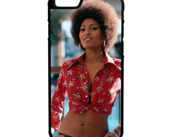 Pam Grier  iPhone Galaxy Note LG G4 Protective Hybrid Rubber Hard Plastic Snap on Case Black