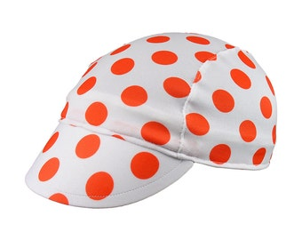 Polka moisture wicking cycling cap - handmade cap; moisture wicking cap; bicycle cap; polyester cap; bike wear; cycling clothes