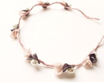 Giselle Headband - Party headband - Boho headband - Flower headband - Woodland headband - Spring blossoms - Adult headband - Pink flowers